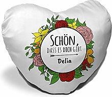 Herzkissen mit Namen Delia und schönem Spruch -