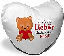 Herzkissen mit Namen Isabell und süßem Motiv -