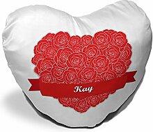 Herzkissen mit Namen Kay und schönem Motiv mit