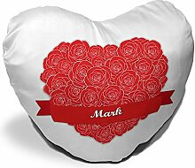Herzkissen mit Namen Mark und schönem Motiv mit