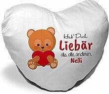 Herzkissen mit Namen Nelli und süßem Motiv -