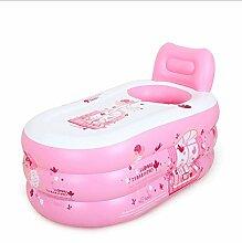 HETAO Erwachsene Faltende Badewanne Verdickung Aufblasbare Badewanne Kunststoff Badewanne (Farbe : Pink, größe : 130*70*50cm)
