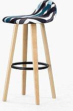 HETAO Persönlichkeit Massivholz Hoher Stuhl Barstuhl Zurück Eisen Barhocker Barhocker Barstühle Haushalt Rezeption 33 * 33 * 69.5cm , color iron black blue ripple