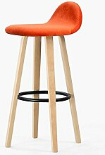 HETAO Persönlichkeit Massivholz Hoher Stuhl Barstuhl Zurück Eisen Barhocker Barhocker Barstühle Haushalt Rezeption 33 * 33 * 69.5cm , color orange velve