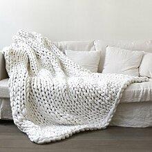 HETAO Wolldecke 100% Merinowolle Stricken Decke