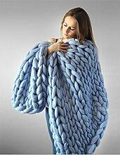 HETAO Wolldecke 100% Merinowolle Stricken Decke Riesenwurf Super Große Sperrigen Arm Stricken Decke Blau (Größe: 50 * 67Zoll)