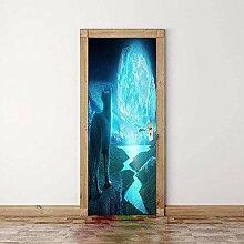 hetobea 3D Tür Wandbild Wolf Gesicht Mond Foto
