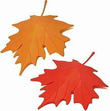 HevaKa Kunststoff Maple Leaf Style Home dekorative Tür Stopper Türstopper (2 geladen) - Orange & ro