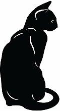 """hevinylguru–Katze Kätzchen Wand Aufkleber Aufkleber–Tier Dekoration Wandbild–Schwarz, schwarz, 30 Inch (16.8""""W x 30""""H)"""