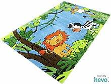 HEVO Dschungel blau Handtuft Kinderteppich |