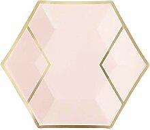 Hexagonal Bronzing Einweggeschirr Pappteller Party