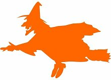 Hexe Aufkleber 002, 30 cm, orange