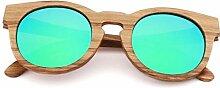 Hexiaoyi Frauen Bamboo Sonnenbrille polarisierte