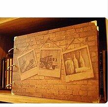 HEZDB Fotoalbum 10 Zoll DIY Retro Wand Muster