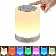 HF morning LED Nachtlichter Nachtlicht Kinder 7 Farben Dimmbar Nachttischlampe mit Bluetooth Speaker Tragbar Camping Lampe Stimmungslicht Tischleuchte Modus Im Freien Mini Lautsprecher (Weiß)