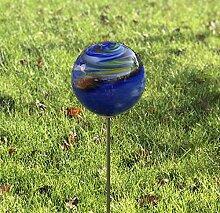 HFG Rosenkugel auf Stab blau D 10 cm Gartenstecker