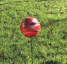 HFG Rosenkugel auf Stab rot D 10 cm Gartenstecker