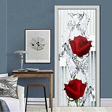hfmt Türe Tapete 3D Moderne Rose