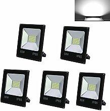 HG® 5 Stück 50W LED Fluter SMD Strahler Außenleuchte IP65 Wasserdicht Beleuchtung Kaltweiss Fassadenstrahler Leuchtmittel [Energieklasse A++]