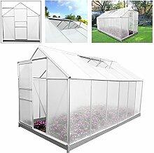 HG® Gartenhaus Aluminium Gewächshaus Frühbeetkasten Hochwertig in verschiedenen Größen Beistellgewächshaus mit Stahl-Fundament-Rahmen