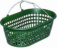 HG Gartenkorb 15kg oval grün mit Draht-Klappbügel