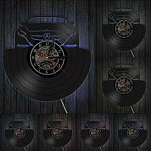 HHCUIJ Automotive Vinyl Record Wanduhr LED-Licht
