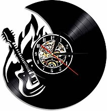 HHCUIJ Rock'n'Roll Feuer Gitarre Wanduhr