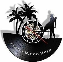 HHCUIJ Wanduhr personalisiert Surfen Schallplatte