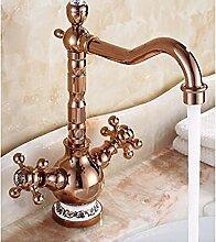 HHCUIJ Wasserhahn Gold Messing Becken Wasserhahn