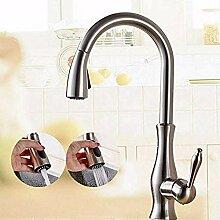 HHCUIJ Wasserhahn Messing Küchenarmatur Nickel