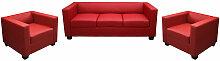 HHG - 3-1-1 Couchgarnitur Lille ~ Leder, rot