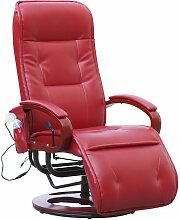 HHG - Relaxsessel Terni II mit Massage ~ Leder, rot