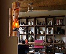 HhGold Bambus Antik Lampe Wand Nachttischlampe