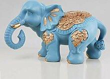 HhGold Elefant Statue Sets Ornamente Harz