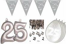 HHO Dekoset Silberhochzeit Silberne Hochzeit Konfetti Luftballons Girlande große Zahl
