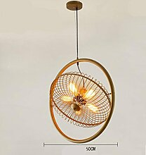 HHORD Bügeleisen Ventilator amerikanischen Dorf Wohnzimmer Kronleuchter Restaurant Light Cafe Bar Countervory Beleuchtung Industrie Wind Bar Personal Kreativ-Ventilator-Licht , 4