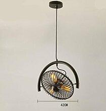 HHORD Bügeleisen Ventilator amerikanischen Dorf Wohnzimmer Kronleuchter Restaurant Light Cafe Bar Countervory Beleuchtung Industrie Wind Bar Personal Kreativ-Ventilator-Licht , 2