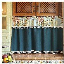 HHXD Kurzstore Gardine mit Quaste,Halb Vorhang aus