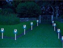 HI Gartenleuchte LED Solar 8 Stk. Edelstahl