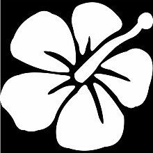 Hibiskus Aufkleber 001, 50 cm, weiss