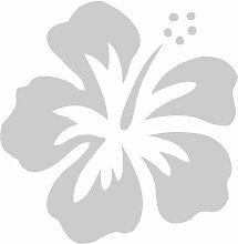 Hibiskus Aufkleber 005, 50 cm, silber