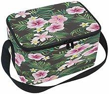 Hibiskus Palmenblätter Lunchbox-Tasche, tropische