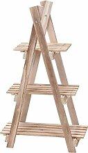 hibuy Blumenpyramide aus Holz, Blumenetagere mit 3