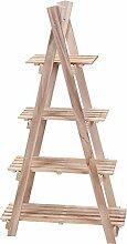 hibuy Blumenpyramide aus Holz, Blumenetagere mit 4