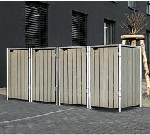 HIDE Hide Mülltonnenbox 140l Holz natur grau 4er