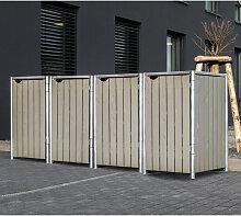 HIDE Hide Mülltonnenbox 240l Holz natur grau 4er