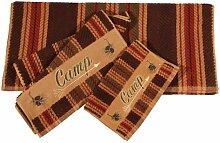 HiEnd Accents Camp Lodge Handtuch-Set, gestreift,