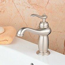 hiendure® 18cm Single Griff Waschbecken Wasserhahn WC Vanity Mischbatterie modernes Deck montieren, gebürstetes Nickel