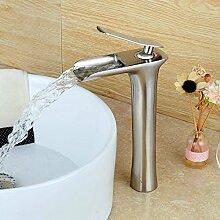 Hiendure Einhebel Messing Waschtischarmatur Armatur Wasserfall Einhandmischer für Badzimmer,gebürstetes Nickel