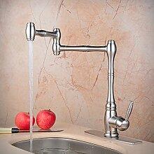 Hiendure® Messing modern einziehbar Doppelgelenk Tülle Küche Waschbecken Wasserhahn Deck montieren gebürstetes Nickel (Mit Deckplatte)